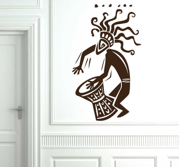 TenStickers. Naljepnica zidova afričkog glazbenika. Naljepnice za sobu - afrička tema naljepnica bubnjara - osjetite ritam. Zidne naljepnice za oblikovanje vašeg doma.