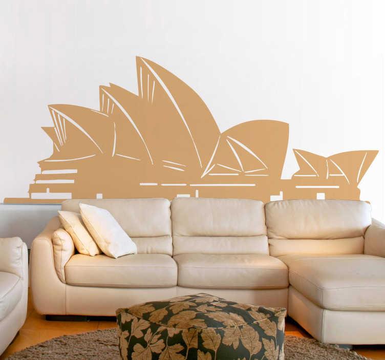 TenStickers. Autocollant monochrome Opéra Sydney. Stickers mural monochrome représentant le monument emblématique de la capitale de l'Australie.Personnalisez et adaptez le stickers à votre surface en sélectionnant les dimensions de votre choix.