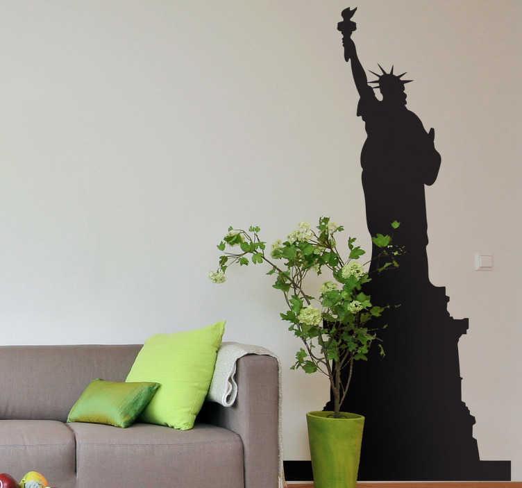 TenStickers. Sticker decorativo Estatua da Liberdade. Sticker decorativo de Nova Iorque com silhueta da Estátua da Liberdade. Ideal para colocar na decoração da sala. Material resistente.