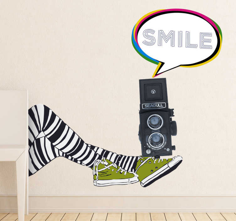 TenStickers. Camera Legs Wall Sticker. An example of urban art from our collection of modern wall stickers ideal for decorating the bedroom or communal areas.
