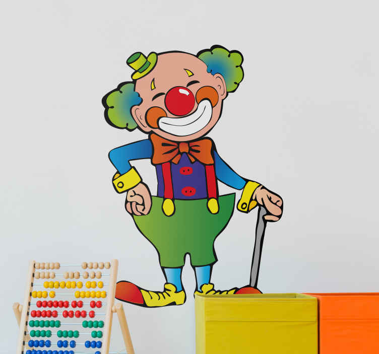 TenStickers. Kids Stickers Happy Clown. Kids wall sticker art - playful and colourful design of a happy bubbly clown. Decals ideal for decorating bedrooms and play areas for kids.