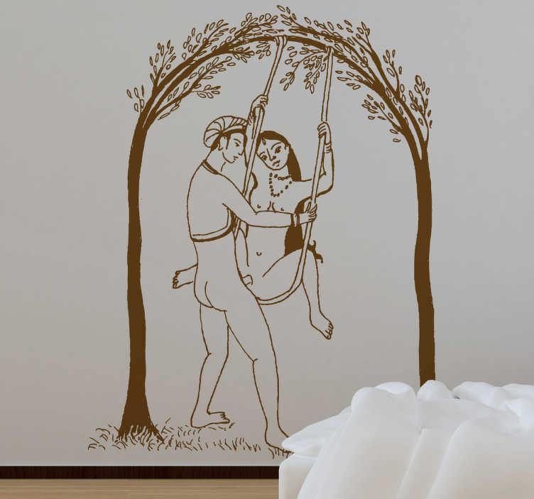 TenVinilo. Vinilo decorativo ilustración sexo India. Dibujo de corte clásico de una pareja practicando sexo acrobático. Adhesivo para parejas pasionales.