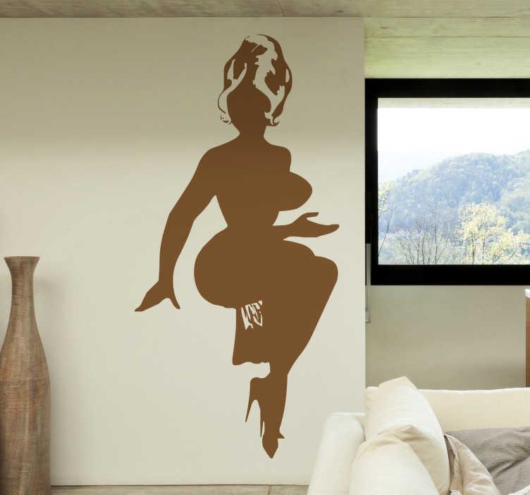 TenStickers. Naklejka dekoracyjna tejemnicza kobieta. Atrakcyjna kobieta - naklejka na ścianę. postać kobiety. zarys kobiety.