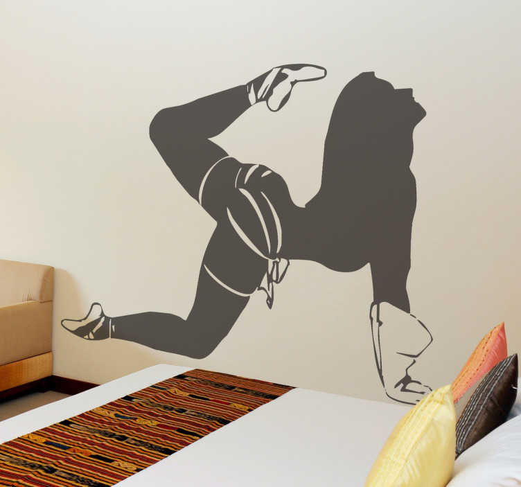 TenStickers. Wandtattoo akrobatische Stripperin. Ausgefallenes Wandtattoo für das Schlafzimmer, das eine akrobatische Frau zeigt, die nur noch eine Unterhose und Balletschuhe anhat.