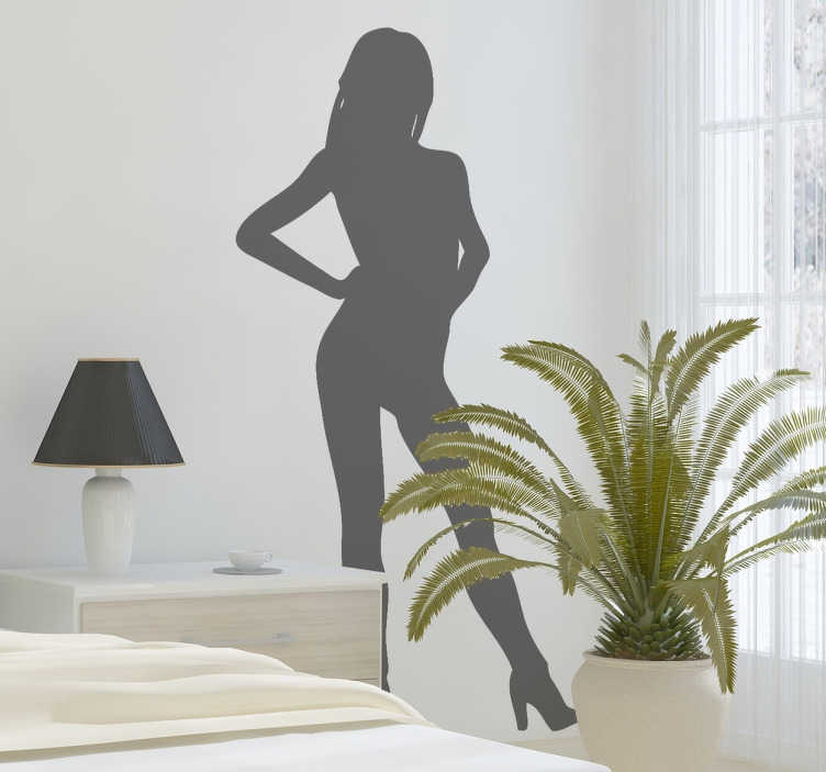 autocollant mural silhouette sexy nue