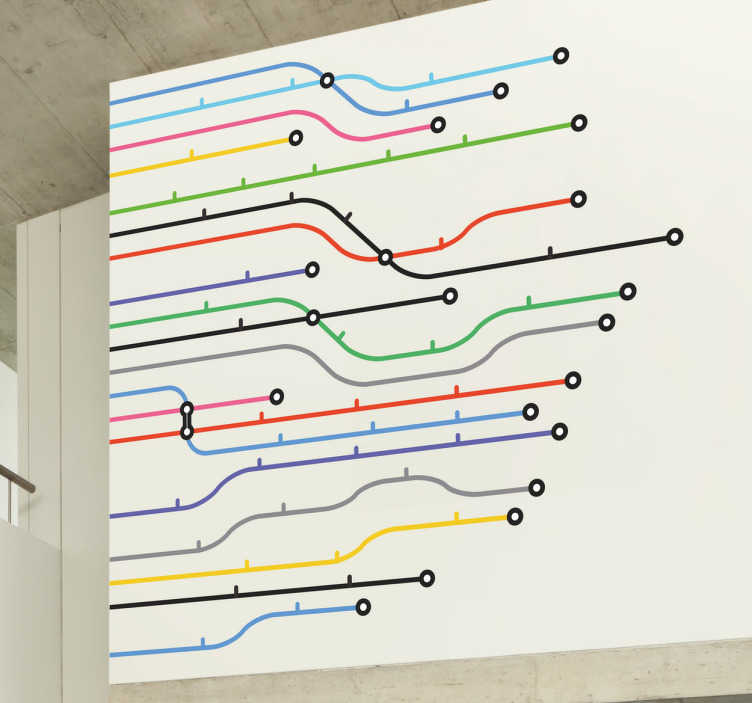 TenStickers. Sticker metro lijnen. Een originele muursticker met hierop de routes van metrolijnen afgebeeld. Leuke wanddecoratie voor de stedelijke jongeren onder ons !