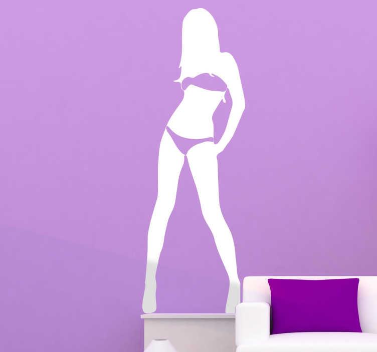 Tenstickers. Seksikäs poseeraus -tarra. Eroottisten seinätarrojen kokoelmasta, bikinit poseeraavan seksikäs tytön siluetti.