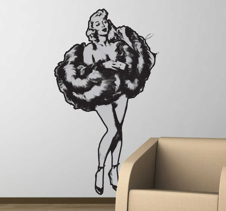 TenStickers. Vintage Pin Up Girl Wall Sticker. A wall sticker with a vintage design of a pin up girl wearing high heels and a fluffy jacket to cover herself.
