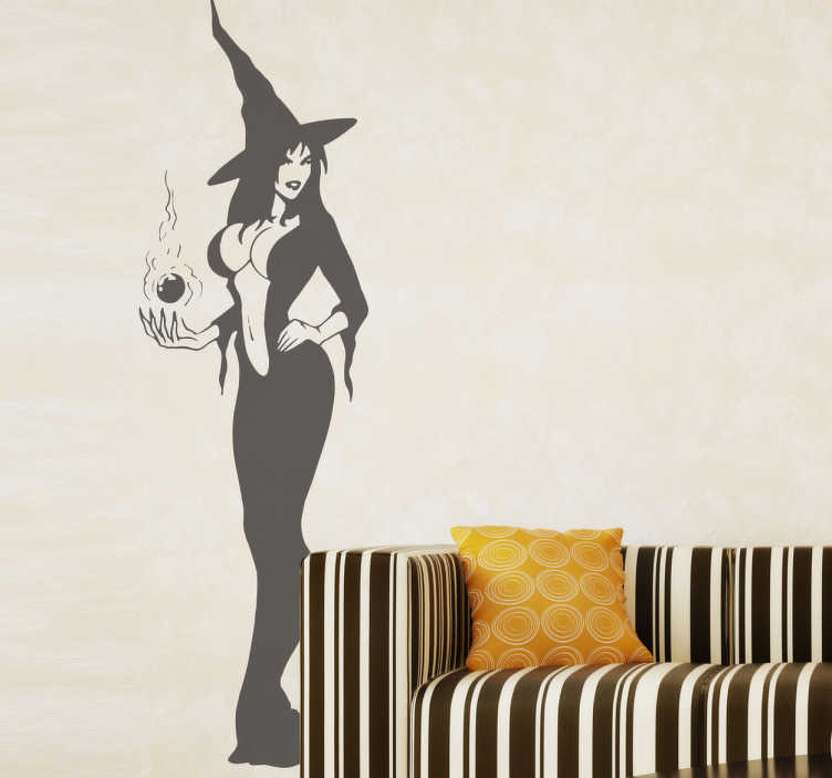 TenStickers. Sexy Witch Wall Sticker. From our collection of erotic wall stickers, a silhouette design of a sexy witch casting a magic spell.