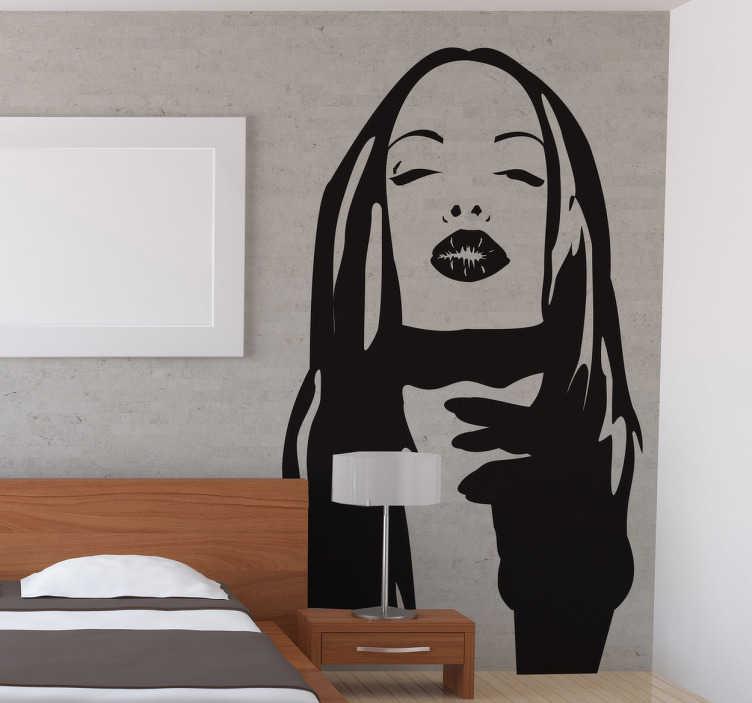 TenStickers. Naklejka dekoracyjna twarz kobiety. Naklejki na ścianę. Naklejki z twarzą kobiety. Naklejki na ścianę dla mężczyzn. Naklejki na ścianę z kobietami.