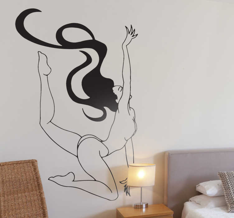 TenStickers. Sticker decorativo nudo acrobatico. Adesivo murale che raffigura una ballerina dai capelli molto lunghi che si esibisce in uno spettacolo di danza.