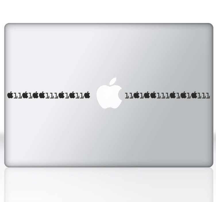 TenStickers. Naklejka na laptop kod binarny. Spraw aby Twój laptop wyglądał wyjątkowo! Udekoruj Swój laptop naklejką dekoracyjną przedstawiającą kod binarny.