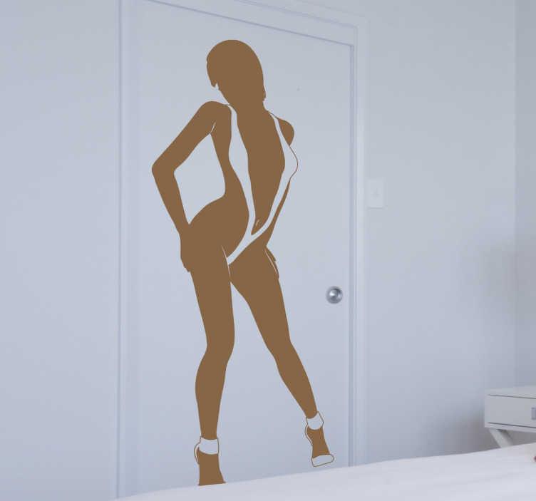 TenStickers. Monokini Sexy Women Wall Sticker. Women wearing monokini standing seductively wall sticker