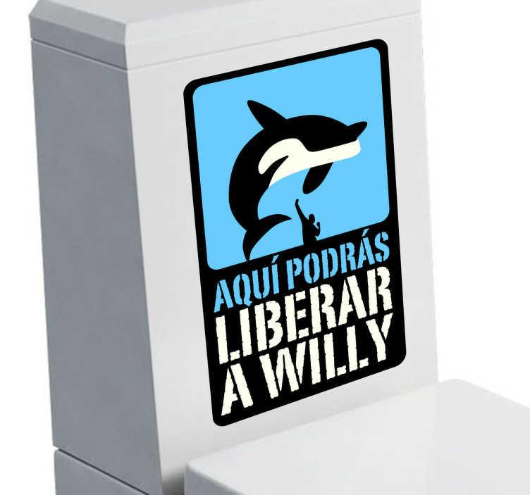TenVinilo. Adhesivo decorativo liberar Willy. Divertida pegatina decorativa en la que se compara el acto de defecar con la famosa película infantil de una orca.