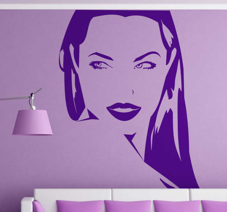 TenStickers. Angelina Jolie's Portrait Home Wall Sticker. Original sticker depicting Angelina Jolie - your favourite actress! Decorate your bedroom or living room with this stunning sticker!