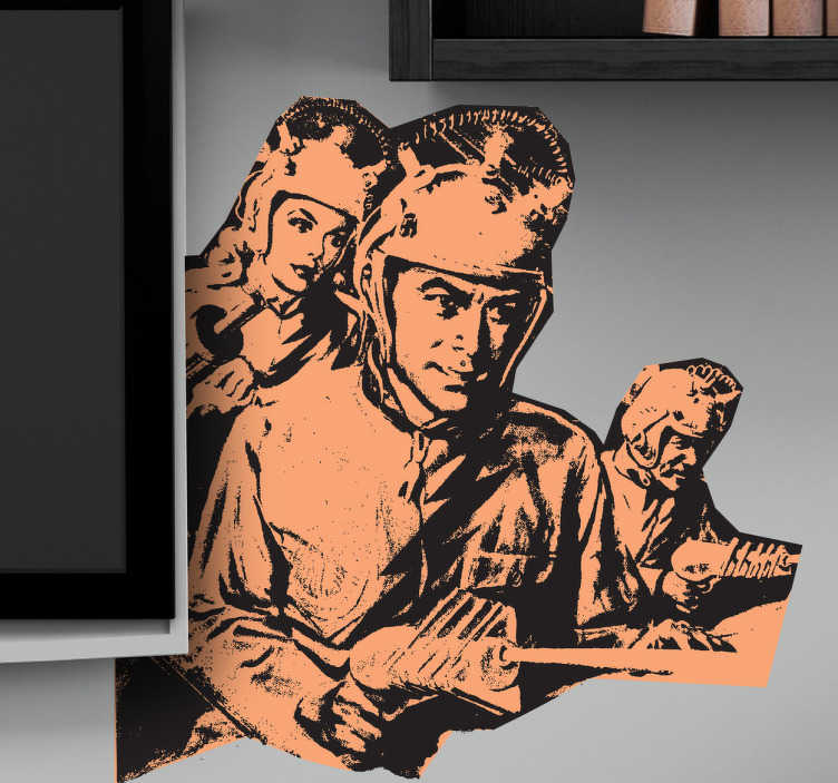 """TenStickers. Sci-fi Movie Wall Sticker. Escoge el color que quieras para la figura y el fondo de este adhesivo marciano en el apartado """"observaciones"""" de la pasarela de compra."""
