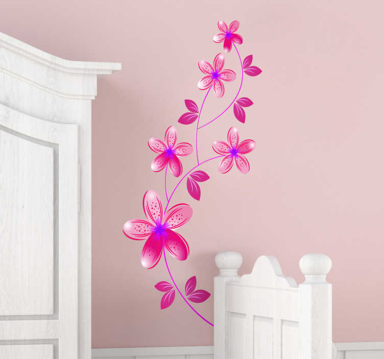 TenVinilo. Vinilo decorativo flores rosas. Original pegatina adhesiva para pared de estilo primaveral con el diseño de unas flores en tonos rosas. Envío Express en 24/48h.