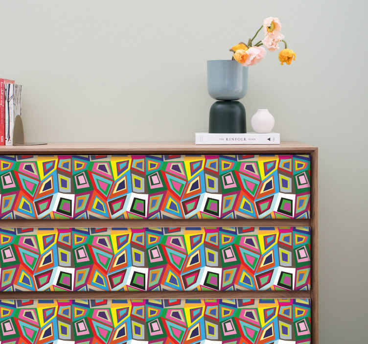 TenStickers. Retro Abstract Wall Sticker. A colourful and striking vintage decal from our collection of retro wall stickers for those that love art and are looking for a stylish wall decal!