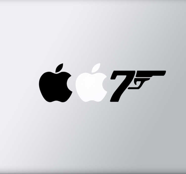TenStickers. Naklejka dekoracyjna na laptop 007. Ozdób Swój laptop naklejką dekoracyjna, która idealnie wkomponuje się w logo Apple, i stworzy złudzenie numeru agenta 007, Jamesa Bonda.