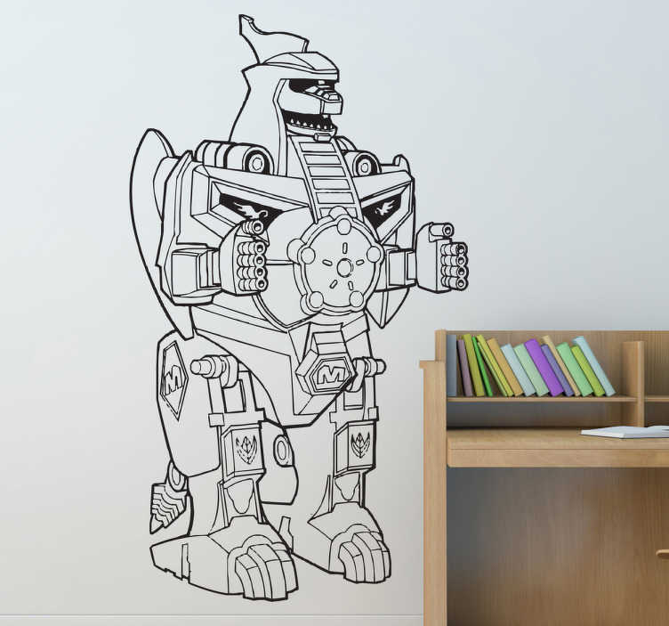 TenStickers. Adesivo cameretta Dragonzord Power Rangers. Sticker decorativo che raffigura un mostruoso robot transformer dall'aspetto imponente. Una decorazione ideale per la cameretta dei bambini.