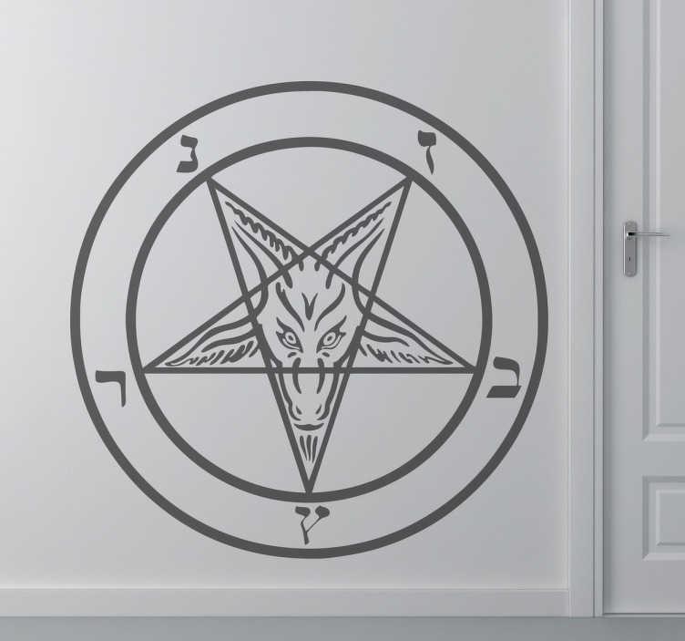 TenStickers. Wandtattoo Satan Symbol. Das umgekehrte Pentagramm: Der umgekehrte fünfzackige Stern ist das bekannteste Zeichen des Satanismus. Die beiden Ziegenkopf-Hörner