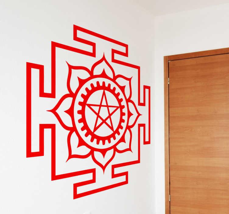 TenStickers. 악마 기호 장식 스티커. 신비주의의 팬들을위한 이상적인 패턴 벽 스티커,이 사탄 상징 벽 스티커는 집에 손님을 알리기에 적합합니다.