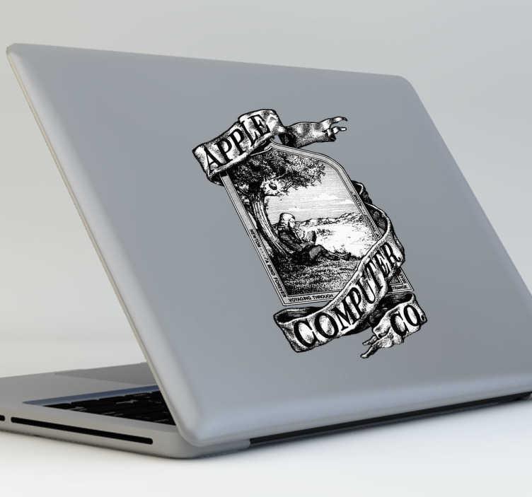 TenStickers. Sticker ancien logo Apple. Une façon fun et cool pour redécorer son Macbook avec cet autocollant du tout premier logo Apple.*Selon le format de votre dispositif les dimensions et proportions du stickers peuvent varier légèrement.