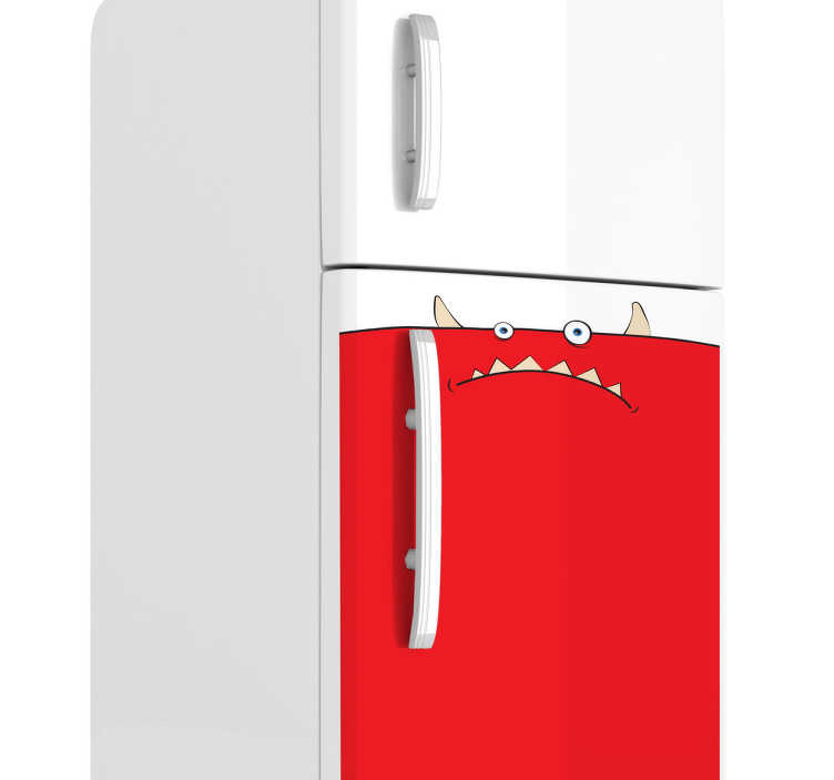 TenStickers. Sticker frigo monstre rouge. Stickers décoratif illustrant un créature rouge sur le point de dévorer toutes les denrées de votre frigo !*Indiquez-nous la largeur et hauteur de votre frigo pour adapter le dessin à vos besoins.
