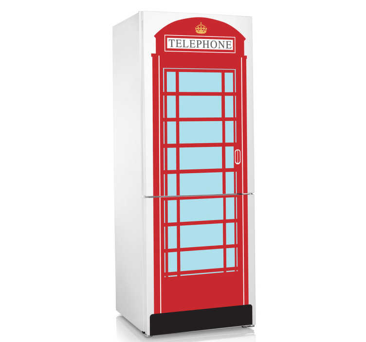 TenStickers. Red Telephone Box Fridge Sticker. Decorate your fridge with this colourful and unique red telephone box. Add a quirky touch to your kitchen decor and surprise your guests with London themed decal made of high quality vinyl.