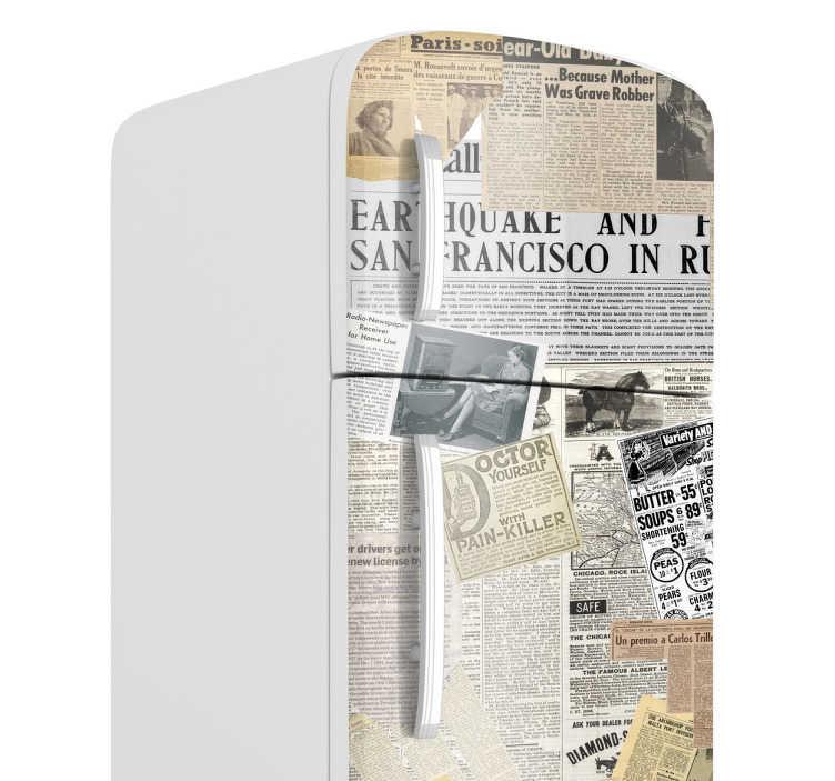 TenStickers. 报纸冰箱贴花. 冰箱贴纸 - 冰封切割报纸的独特设计!让你的冰箱与报纸贴纸脱颖而出。