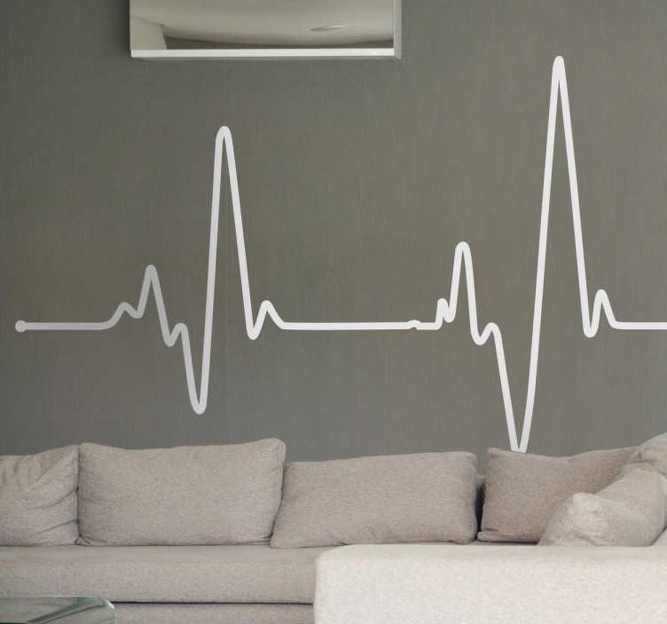TenVinilo. Vinilo decorativo electrocardiograma. Original adhesivo con el típico dibujo en línea de los tests cardíacos.