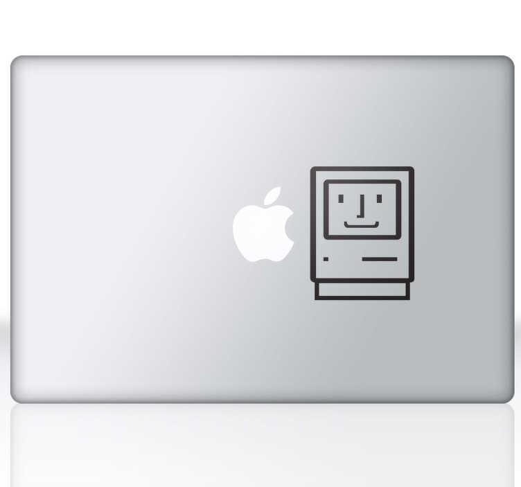 TenStickers. Første apple mac oldschool business sticker. Forskønne din computer eller laptop med denne sjove ide om at kontrastere den nyeste teknologi med den første computer.