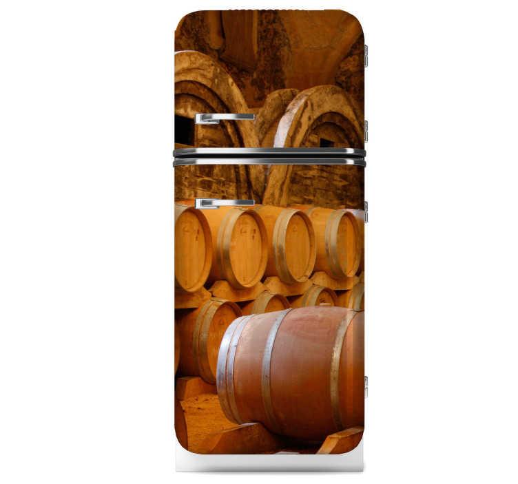 TenStickers. Vinil decorativo barril de vinho. Vinil decorativo de vários barris de vinho colocados numa adega. Adesivo autocolante para frigoríficos em cozinhas ou adegas.
