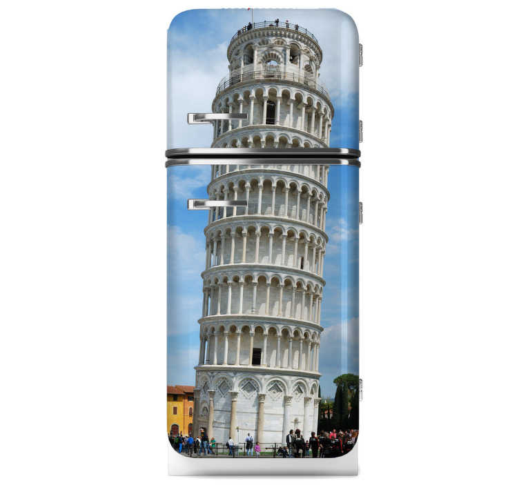 TenStickers. Leaning Tower of Pisa Fridge Sticker. Fridge Sticker - Shot of the famous Italian monument - Tower of Pisa. Available in various sizes. Contact us at info@tenstickers.co.uk for custom sizes.