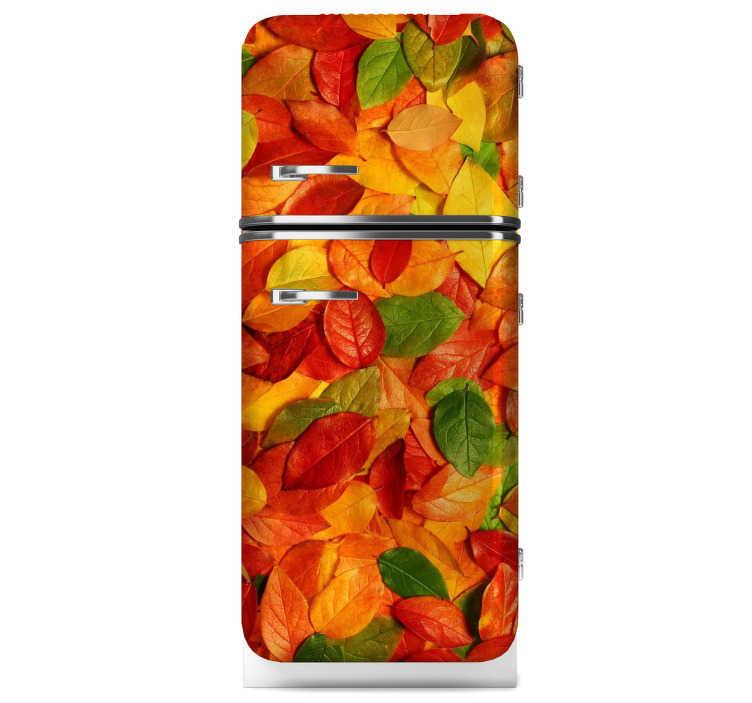 TenStickers. Efterår forlader køleskabsticket. Elsker du efteråret? Hvis ja, så er dette køleskabsticket, der skildrer farverige blade, perfekt til dig! Dekorere dit køkken med dette fantastiske design!