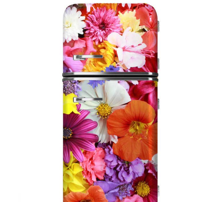 TenVinilo. Vinilo decorativo muchas flores. Colorido adhesivo de temática primaveral para tu frigorífico. Indícanos el ancho y el alto para adaptar el diseño a tus necesidades.