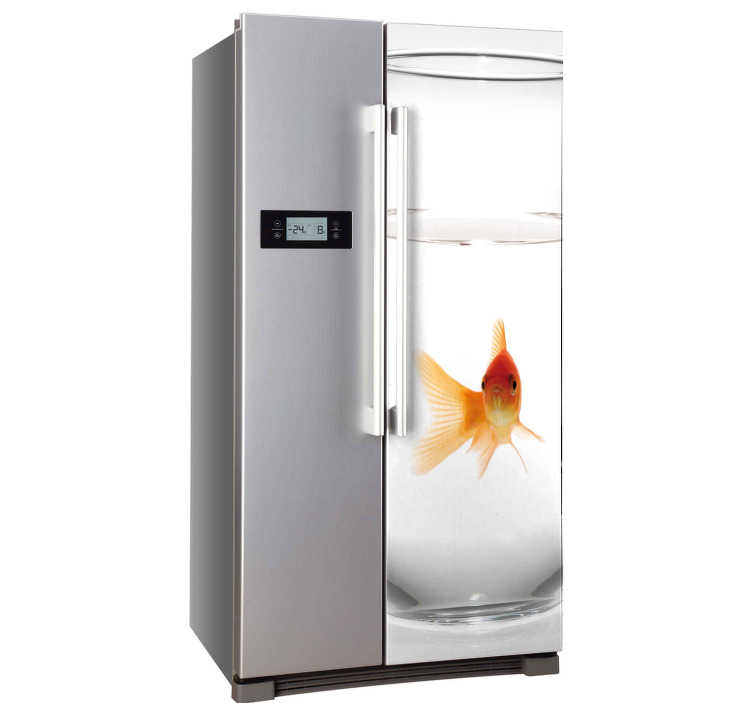 TenStickers. Fish Tank Fridge Sticker. Fridge Stickers - Realistic gold fish sticker to decorate your fridge with.  A fun fridge decal to that creates a distinctive look. Free delivery over £45.