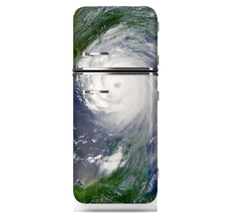 TenStickers. Vinil decorativo satélite furacão. Vinil decorativo com inspiração espacial para o teu frigorífico. Adesivo de parede de um furacão visto do espaço por um satélite.
