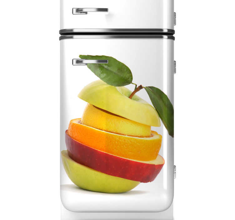 TENSTICKERS. フルーツスライス冷蔵庫ステッカー. 冷蔵庫のステッカー - フルーツをテーマにしたデザイン。この活気に満ちたカラフルなフルーツデカールであなたの冷蔵庫をカスタマイズしてください。様々なサイズで利用可能であり、適用しやすい。