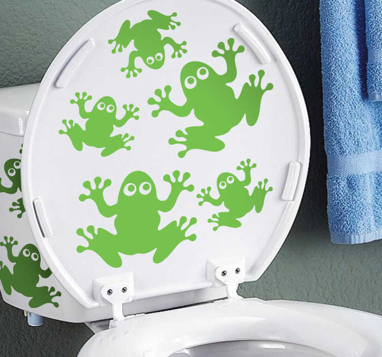 TenStickers. Frogs Toilet Sticker. A creative and fun design to decorate your toilet! Superb design from our collection of tiles stickers for your bathroom.