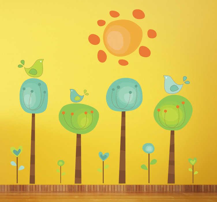 TenVinilo. Vinilo decorativo paraje soleado. Adhesivo de cuatro árboles con tres pájaros de tonalidades verdes mirando un resplandeciente sol.