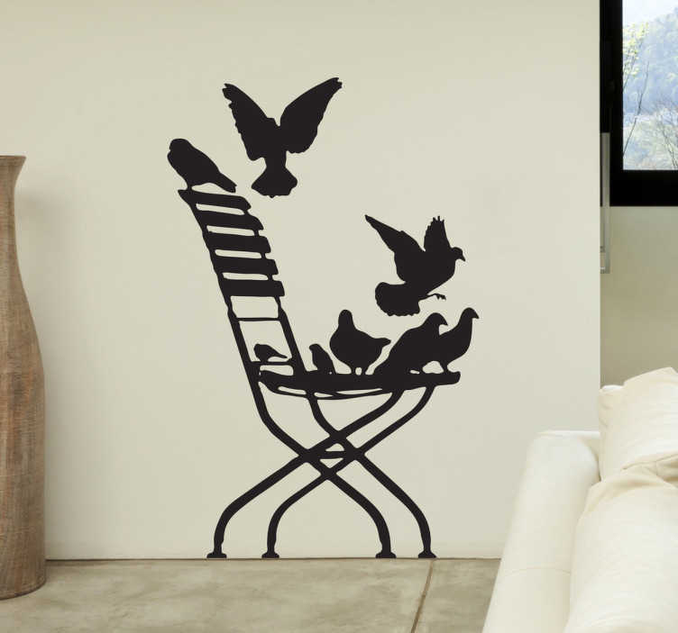 TenStickers. Pigeon Chair Wall Sticker. Wall Stickers - Silhouette illustration of a chair with various birds fluttering around. Distinctive feature for your living room.