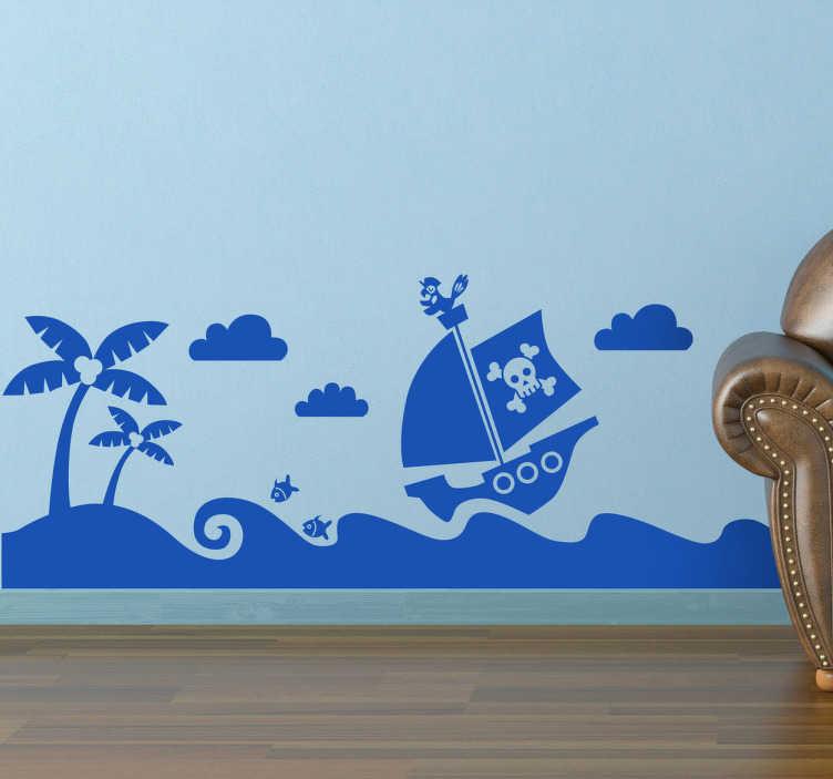 TenStickers. Sticker enfant navire de pirates. Stickers monochrome illustrant un navire de pirates navigant sur une mer très mouvementée.