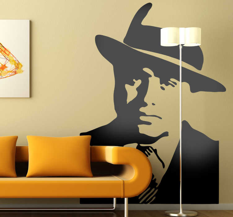 TenStickers. Wandtattoo Al Capone. Kunst Wandtattoo - Porträt des amerikanischen Gangsters der ersten HHälfte des 20. Jahrhunderts - Al Capone. Günstige Personalisierung