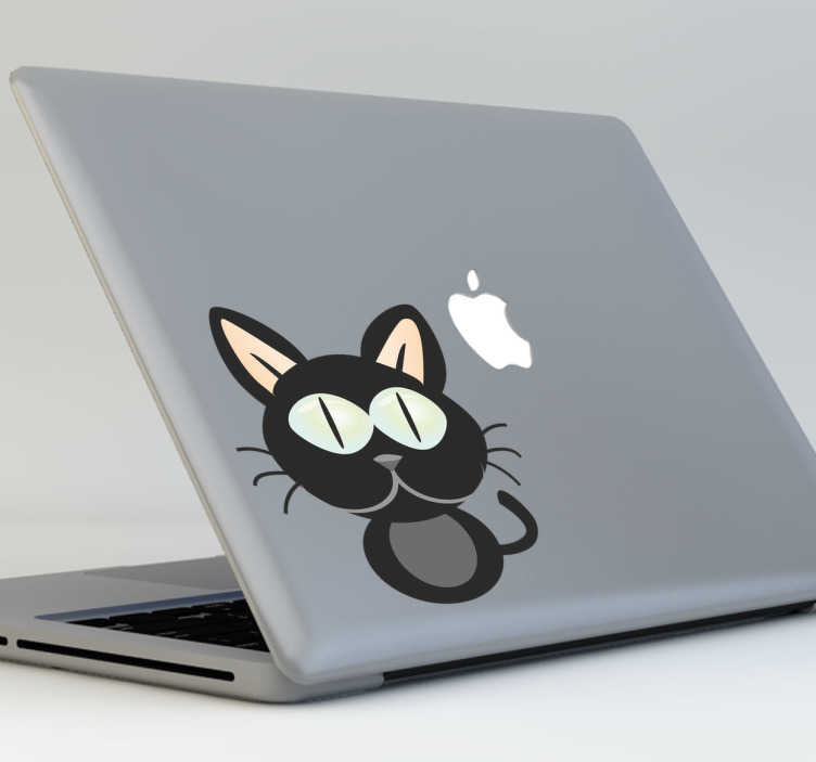 TenStickers. Autocollant macbook chat noir. Un stickers fun et cool représentant un chat noir pour redécorer son ordinateur portable.*Selon le format de votre dispositif les dimensions et proportions du stickers peuvent varier légèrement.