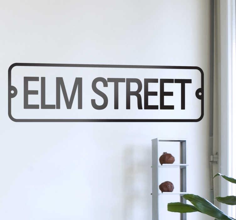 TenStickers. Autocolante de parede Elm Street. Autocolante de parede inspirado no endereço do assustador Freddy Krueger, Elm Street. Disponível em vários tamanhos e cores.