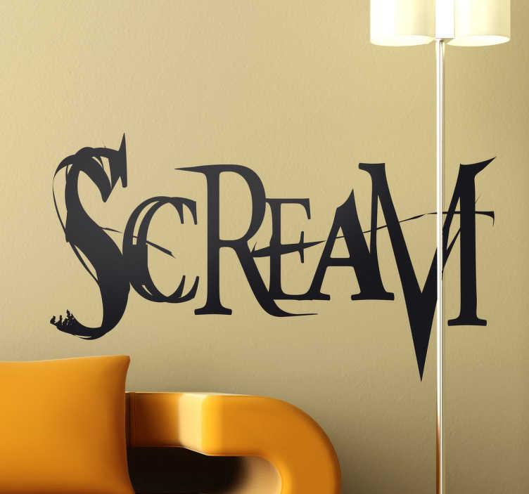 TenStickers. Sticker logo Scream. SCREAM, un film d'horreur qui a fait hérisser les poils de plus d'un ! Si vous êtes fans de ce film, ce stickers décoratif devrait certainement vous plaire.Jolie idée déco pour les murs de votre intérieur de façon simple et originale.