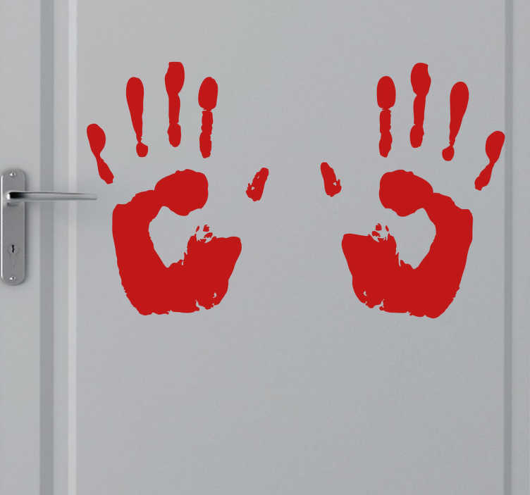 TenStickers. Stained Hands Sticker. Room Stickers - A horror movie theme design. Bloody hand prints. Decals great for decorating your home.