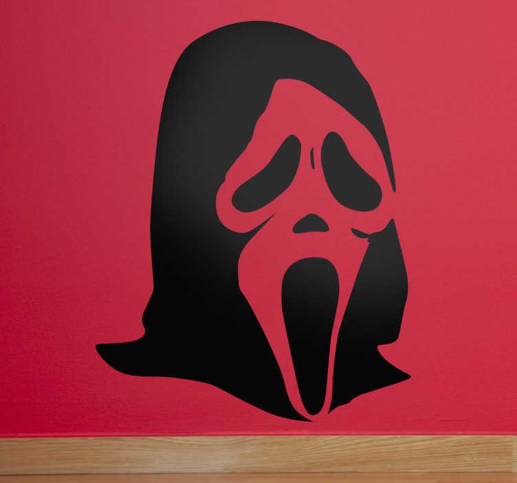 TenVinilo. Vinilo decorativo máscara Scream. Adhesivo con esta figura clásica del cine de miedo de un encapuchado cadavérico.