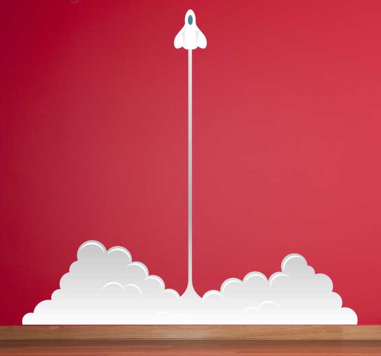 TenStickers. Wandtattoo Kinderzimmer Raketenstart. Dieses Wandtattoo für das Kinderzimmer zeigt den Start einer Rakete, die riesige Dampfschwaden auf dem Boden hinterlässt.